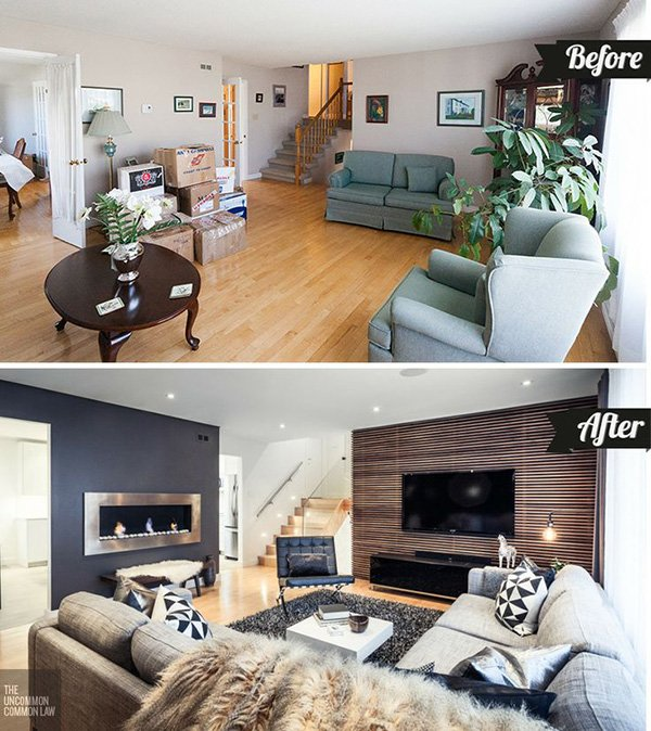 modern home decoration before after