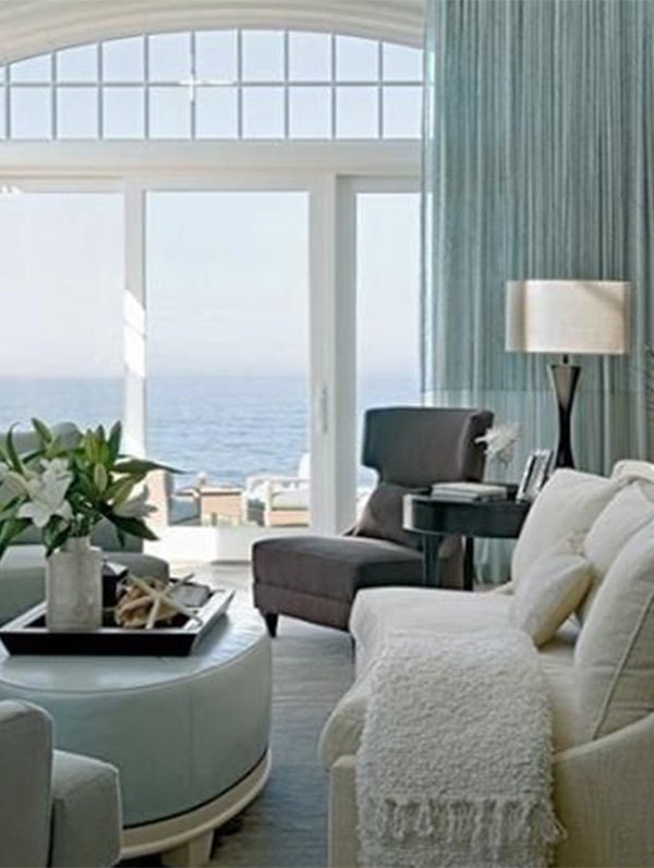 modern living room with ocean view