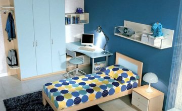 blue teen bedroom