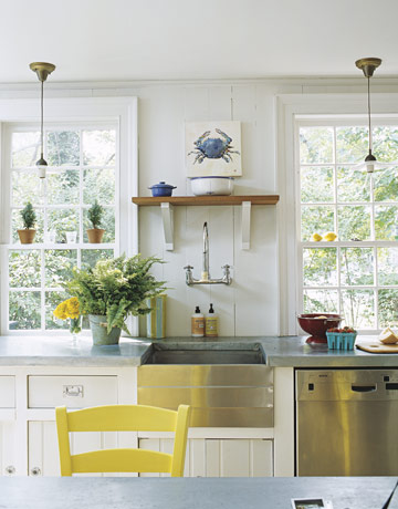 kitchens - Benjamin Moore Iceburg - white cabinets stainless steel farmhouse sink yellow dining chair glass pendants kitchen  bright, sunny kitchen!