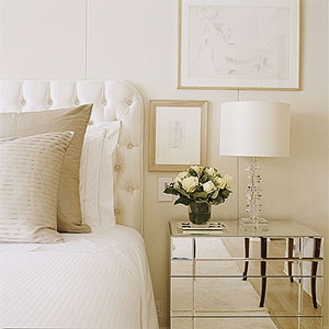 Decor pads glamour bedroom with mirrored end tables