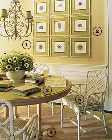 dining rooms - breakfast room with bamboo chairs  breakfast room  white faux bamboo chairs and art gallery