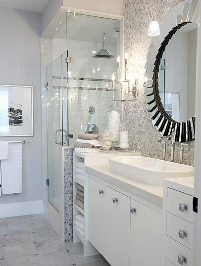 bathrooms - Fortune Modern Frameless Beveled Mirror white gray silver Saltillo glass tiles white subway tiles gray floor tiles white bathroom cabinets chrome hardware fixtures overmount sink frameless glass shower apothecary jars ribbed towels rainfall shower head glass pendant gray blue walls