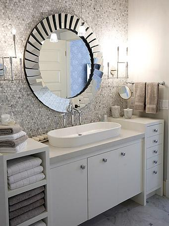 bathrooms - Fortune Modern Frameless Beveled Mirror gray marble saltillo glass tiles backsplash gray marble tiles white cabinets modern chrome fixtures hardware sconces glass pendant overmount sink ribbed towels blue gray walls paint color bathroom