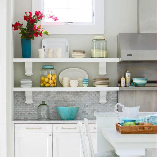 kitchens - island white cabinets gray marble tile backsplash stainless steel hood island stools upholstered blue stool cushions shelves blue kitchen accents decor kitchen