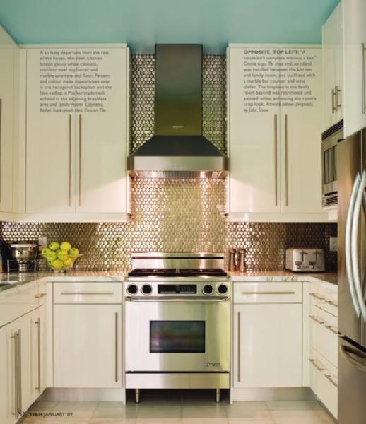 kitchens - ivory cabinets tiles backsplash polished chrome pulls hardware painted turquoise blue ceiling  kitchen love   modern ivory kitchen