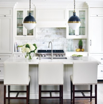 kitchens - White Carrara Marble Subway Tiles Hicks Pendant ivory leather barstools counter stools nailhead nail head trim nickel fixtures stone countertops glass front cabinets espresso stained wood floors