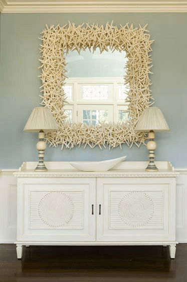 entrances/foyers - starfish square mirror ivory gray buffet lamps white buffet console table crown molding blue gray walls paint color entrance