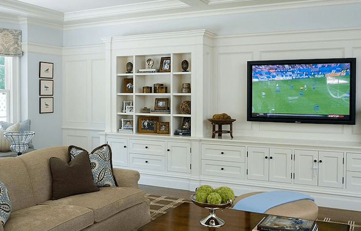 living rooms - wall media unit built0ins cabinets shelves microfiber sand sofa blue brown pillows blue walls paint color living room TV  Alisberg