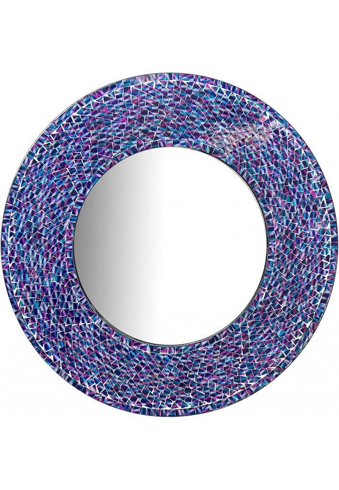 decorshore 24 inch round wall mirror decorative glass mosaic bathroom mirror in blue purple