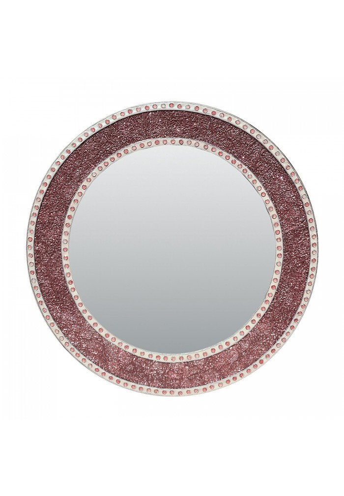 decorshore 24 rose gold blush round handmade crackled glass mosaic tile framed decorative accent wall mirror