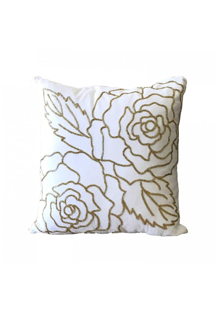 isabella 18 inch artisan crafted velvet decorative throw pillow cover with hand beaded gold rose pattern 1 white gold