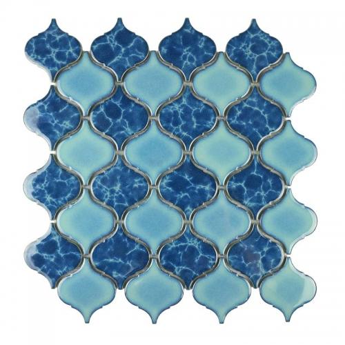 light dark blue porcelain tiles in arabesque pattern kitchen backsplash and bathroom floor design cpt024