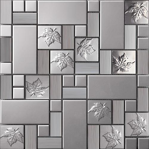 emboss leaf stainless steel mosaic tile kitchen backsplash design sst113
