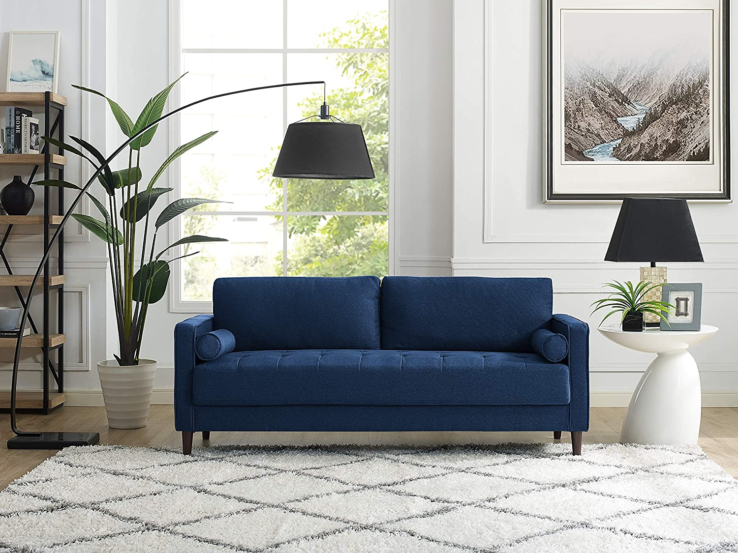 what color rug goes with a blue couch