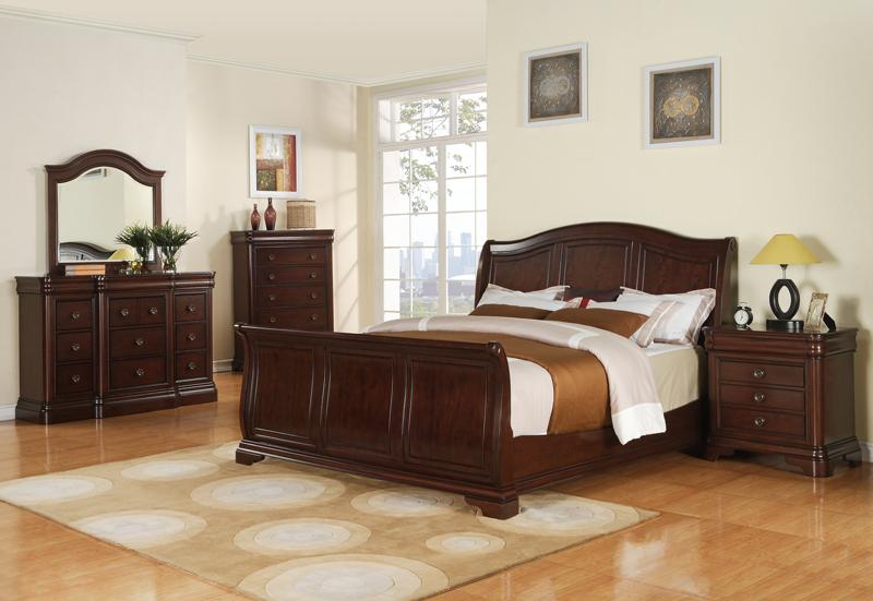 Cherry Wood Sleigh Bedroom Set Cameron Sleigh Bedroom Set
