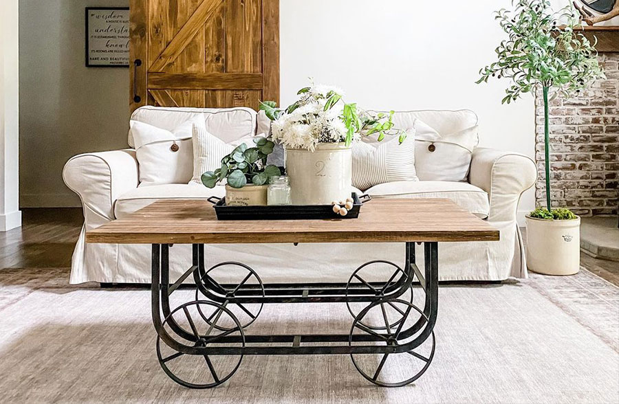 wooden factory cart coffee table