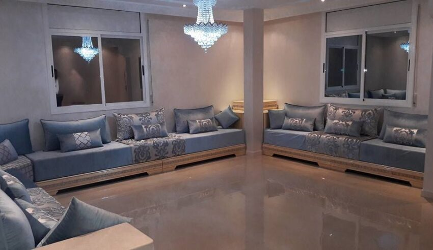 Salon Marocain Gris Et Bleu Decoration Moderne Deco Salon Marocain