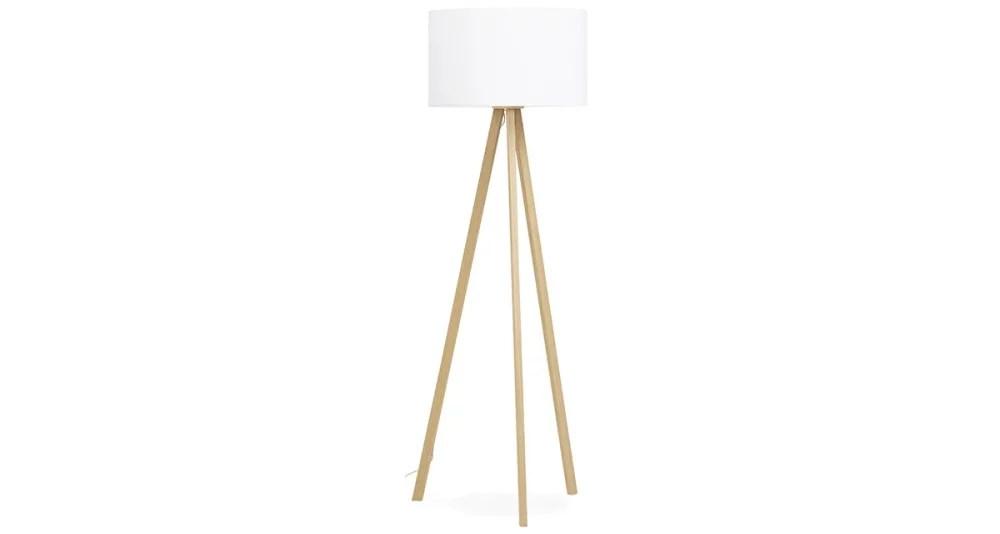 lampadaire blanc et bois naturel ursula