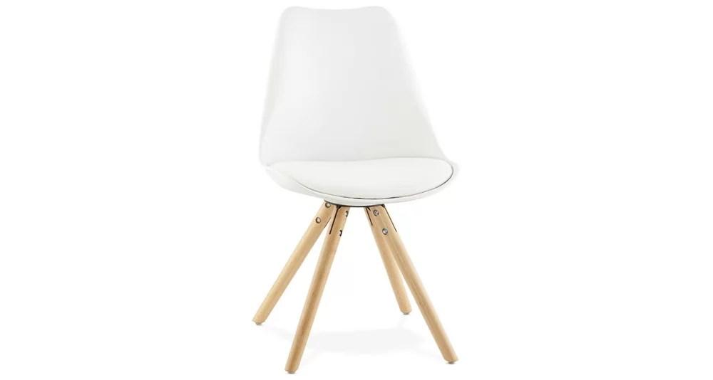 chaise scandinave blanche pieds bois lou