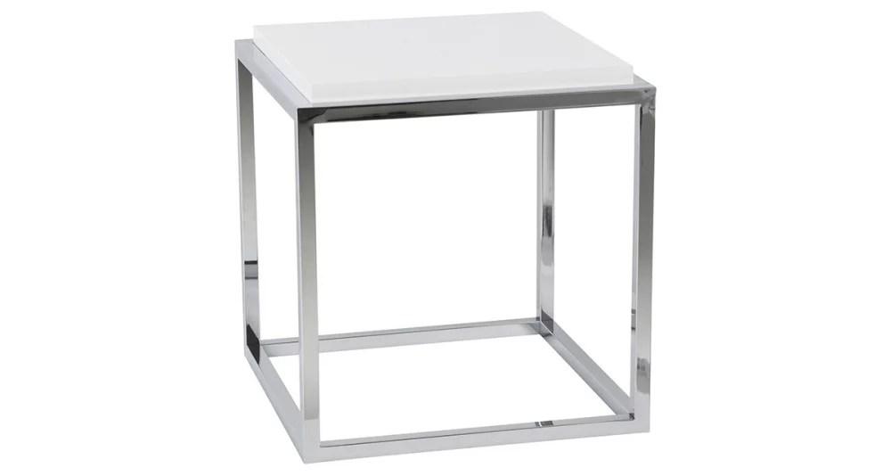 cube de rangement chrome et blanc tilda