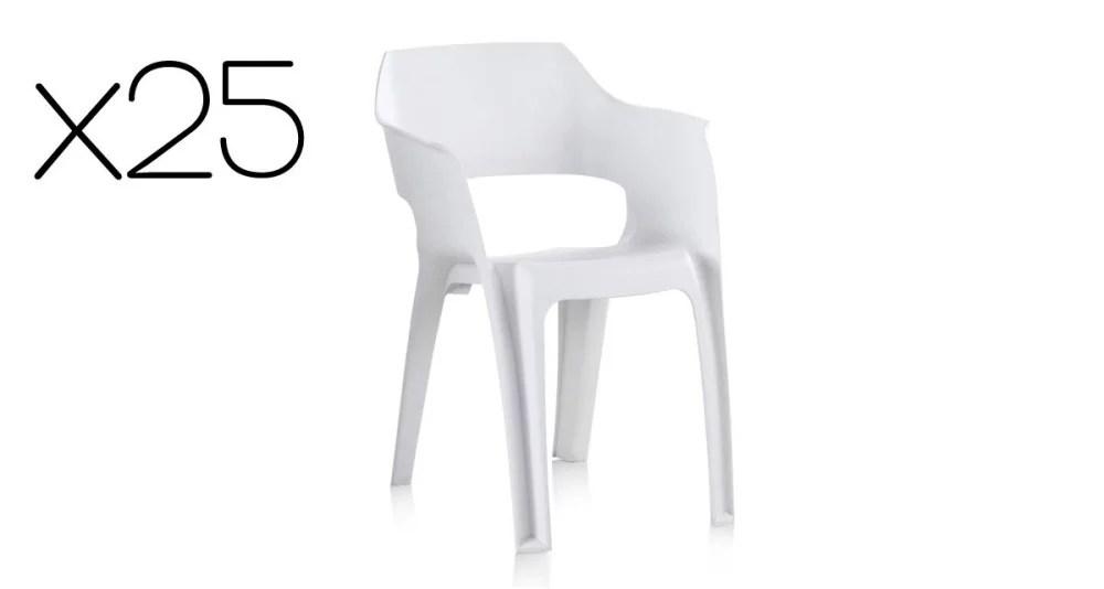 lot 25 chaises de jardin blanches empilables goya