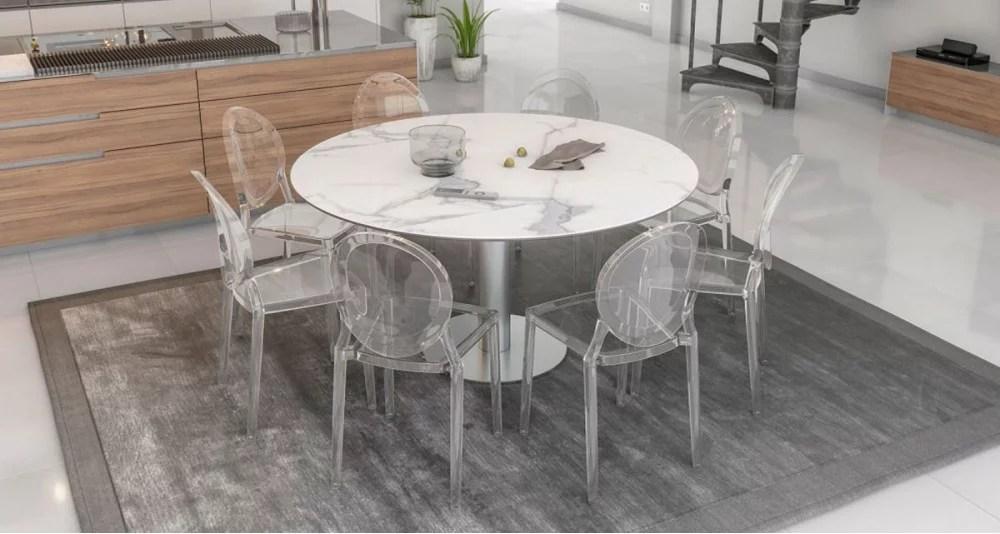 table rectangulaire transformable en table ronde onyx 3 coloris