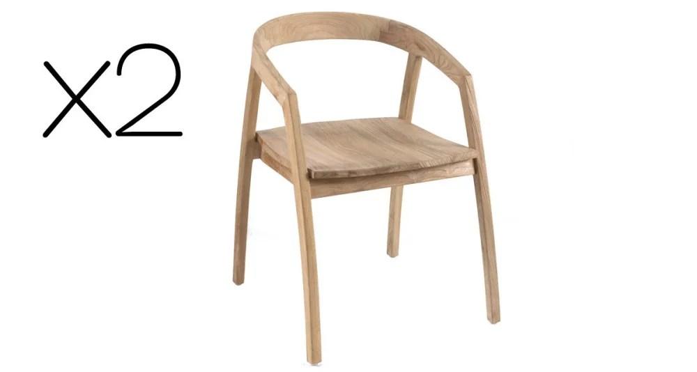 lot 2 fauteuils jardin en teck porto cervo