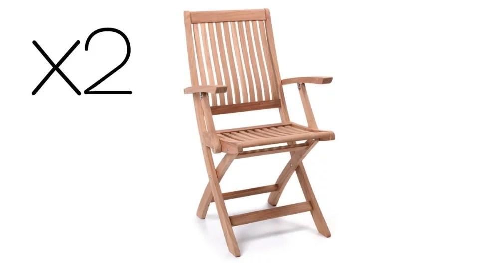 lot 2 chaises avec accoudoirs pliantes en teck cargese