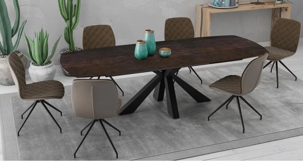 grande table en ceramique extensible 200 260 cm calgary