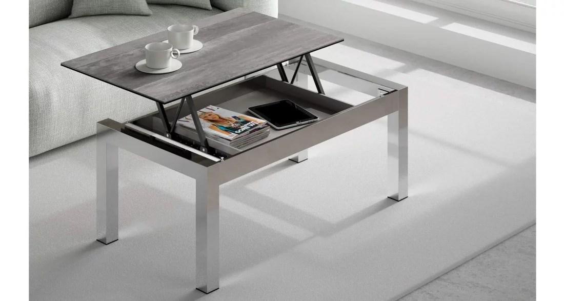 table basse grise et inox a plateau relevable eleonie