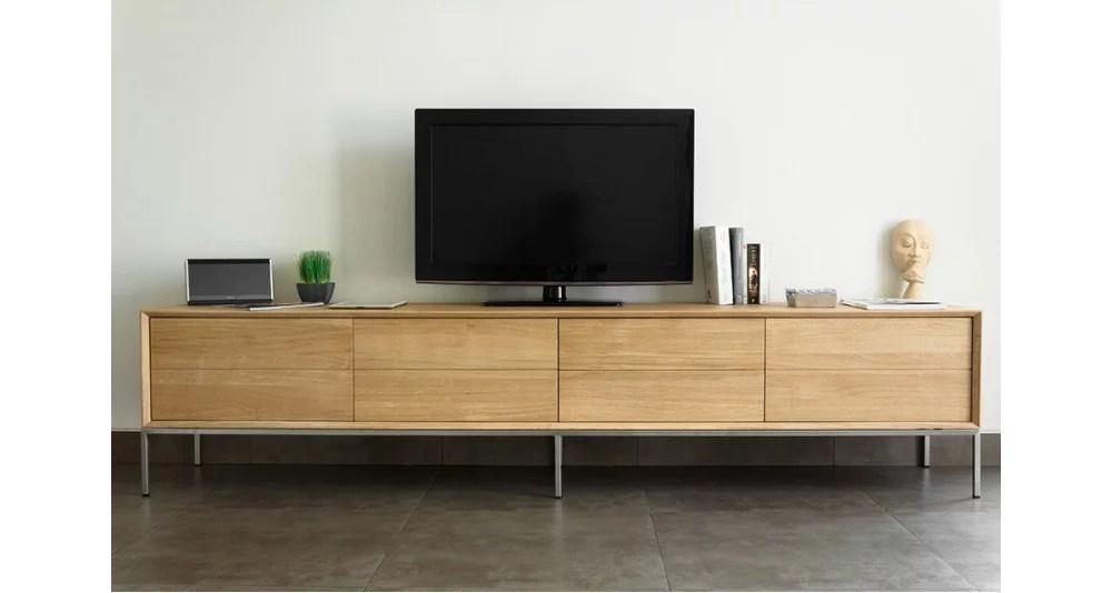 grand meuble tv en chene massif kimberley