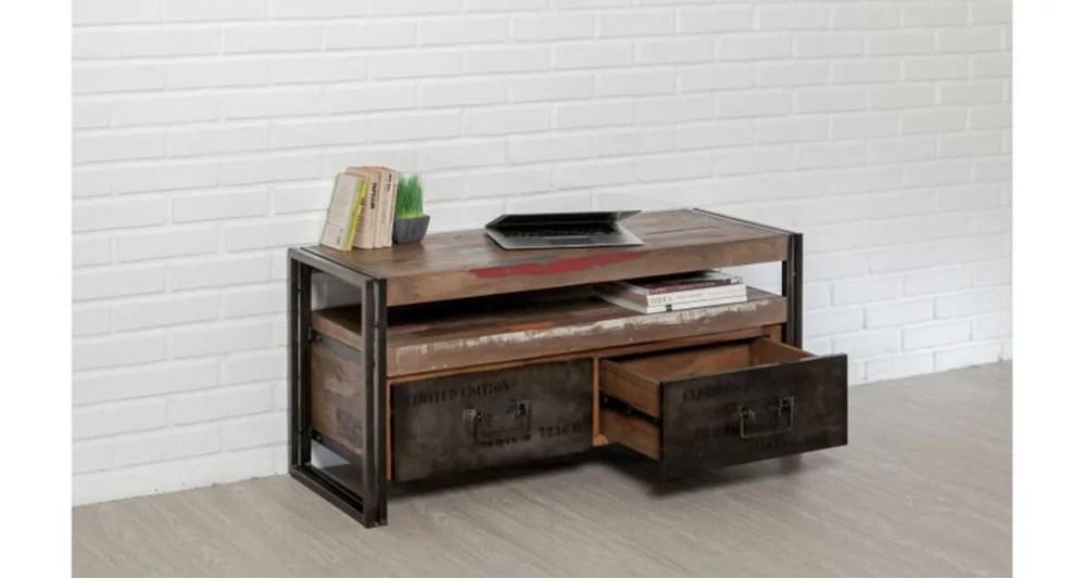 meuble tele bois recycle et metal colorada