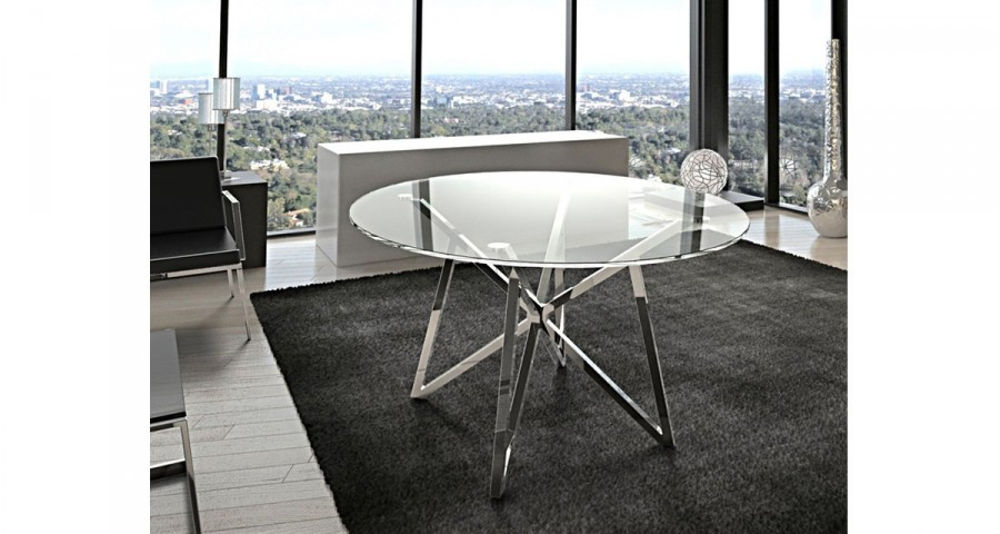 table repas ronde en verre oceanne