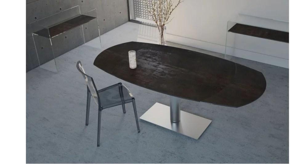 table repas ovale a rallonge automatique evalina 5 coloris