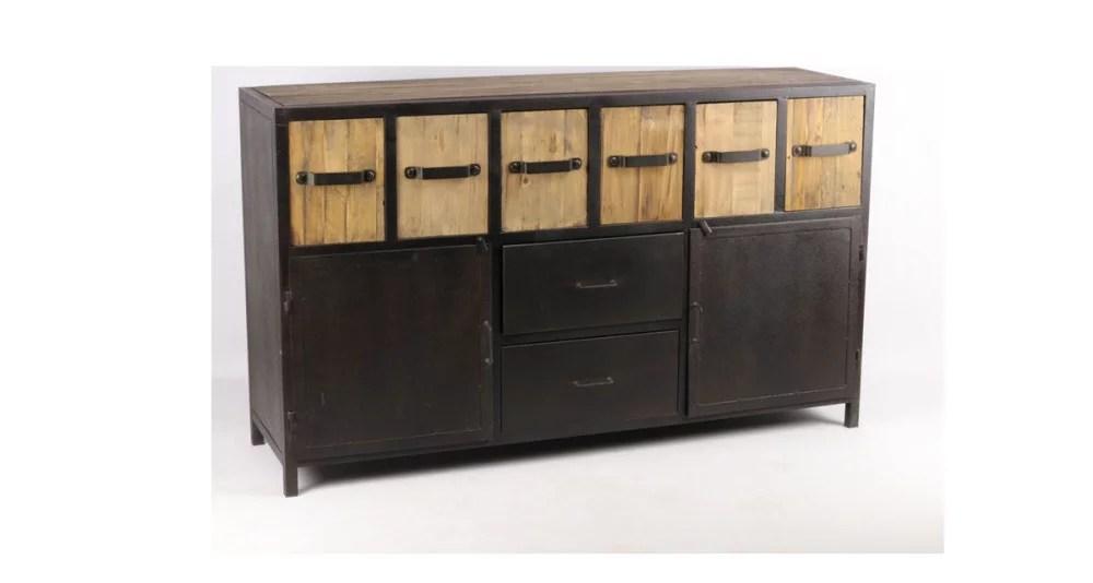 buffet industriel en fer noir et casiers en bois beaverton