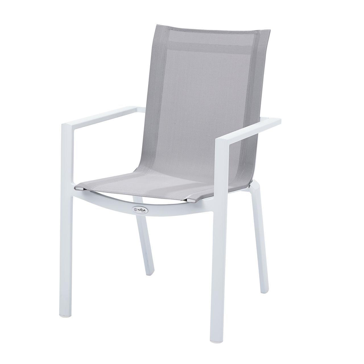 fauteuil de jardin aluminium et textilene blanc gris clair whitestar