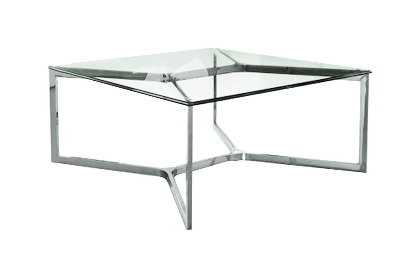 table basse inox et verre trempe carre croisements 60x60
