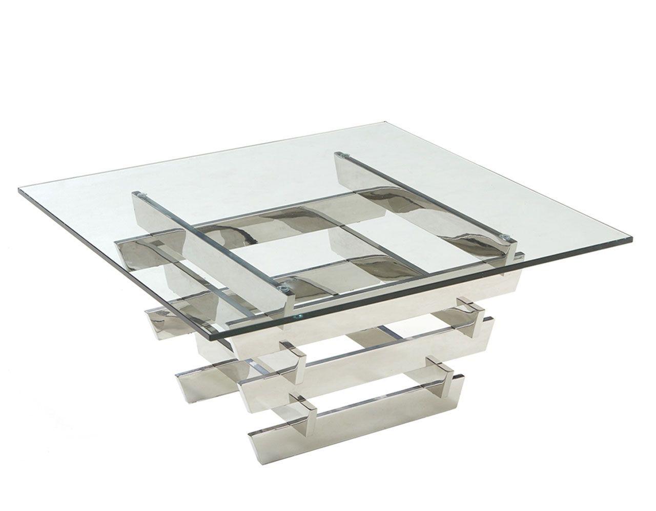 table basse inox et verre trempe carre quadrillage 80x80