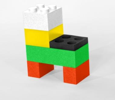 Déco Lego Ô Comme 3 Pommes présente sa chaise enfants Lego