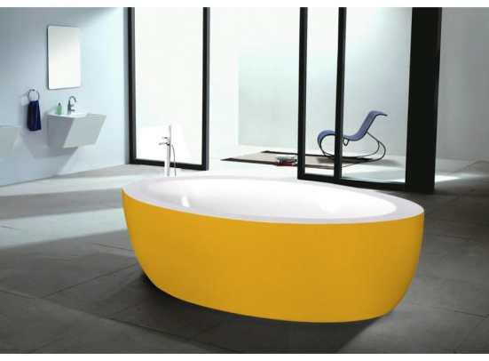baignoires blanches colorées