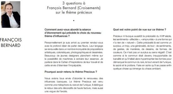 François Bernard Forum d'Inspirations Maison&Objet Paris Septembre 2015