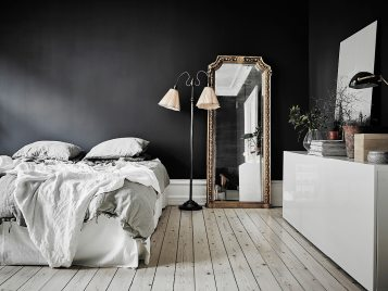 intérieur scandinave noir et blanc