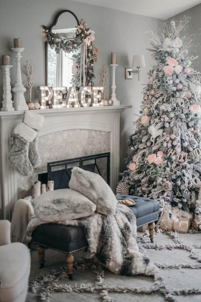 Décorations de sapins de Noël gris