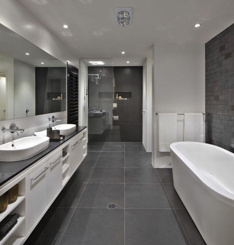 Salle de bain griseles sols