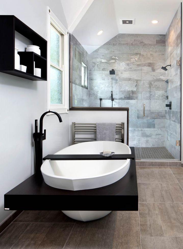 Une salle de bain monochromatique