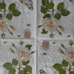White Rose Handwriting Post Card Decoupage Napkins Decoupage Paper