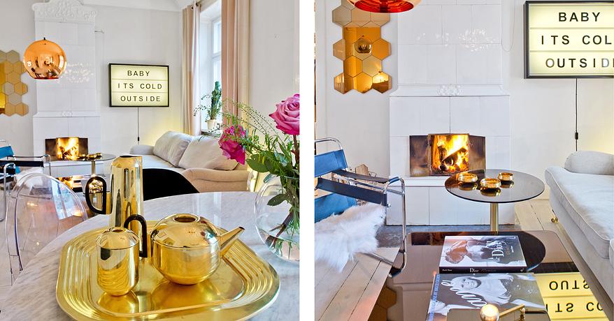 Cuivre, neon, marbre… un appartement à vendre pile dans la tendance !