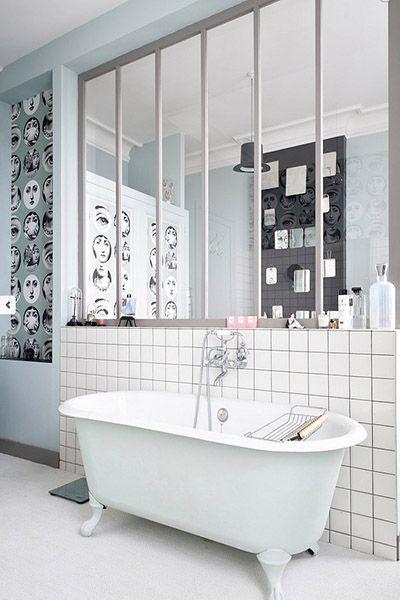 Adopter une verrière atelier dans la salle de bain ! | DecouvrirDesign