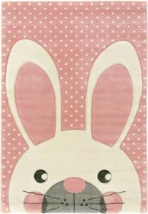 tapis enfant fille lapin blanc rose pastel a pois